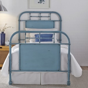 Vintage Series Twin Metal Bed - Blue