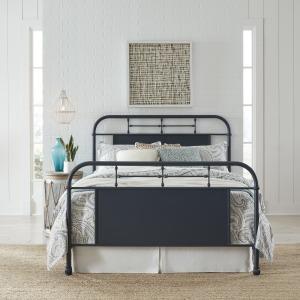 Vintage Series King Metal Bed- Navy