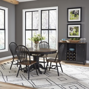 Carolina Crossing 5 Piece Pedestal Table Set- Black