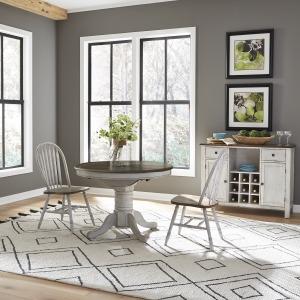 Carolina Crossing 3 Piece Round Table Set- White
