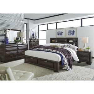 Newland King Storage Bed, Dresser & Mirror, Nightstand