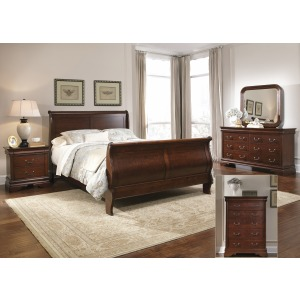 Carriage Court Queen Sleigh Bed, Dresser & Mirror, Chest, Night Stand