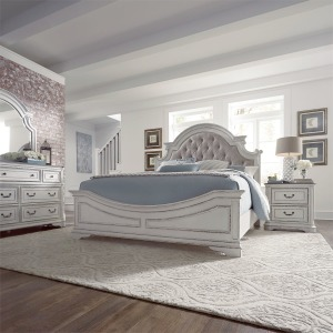 Magnolia Manor King Uph Bed, Dresser & Mirror, NS