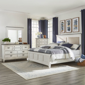 Allyson Park Queen Uph Bed, Dresser & Mirror, Chest