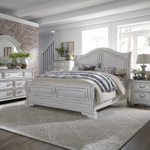 Magnolia Manor King Sleigh Bed, Dresser & Mirror, Chest, Night Stand