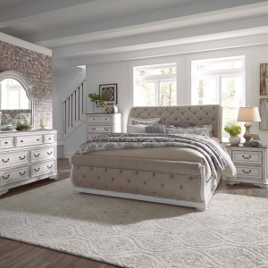 Magnolia Manor King Uph Sleigh Bed, Dresser & Mirror, Chest, Night Stand