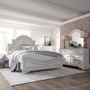 Magnolia Manor Queen Panel Bed, Dresser & Mirror, Chest