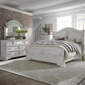 Magnolia Manor Queen Sleigh Bed, Dresser & Mirror, Chest