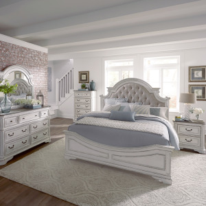Magnolia Manor Queen Uph Bed, Dresser & Mirror, Chest, Night Stand