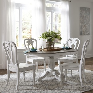 Magnolia Manor 5 Piece Pedestal Table Set