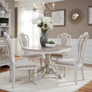 Magnolia Manor Opt 5 Piece Pedestal Table Set