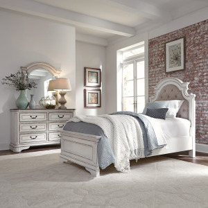 Magnolia Manor Full Upholstered Bed, Dresser & Mirror