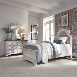 Magnolia Manor Twin Upholstered Bed, Dresser & Mirror
