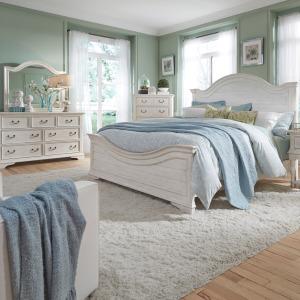Bayside Queen Panel Bed, Dresser & Mirror, Chest