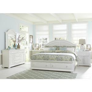 Summer House I Queen Storage Bed, Dresser & Mirror, Night Stand