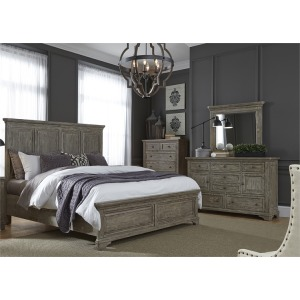 King Panel Bed, Dresser and Mirror
