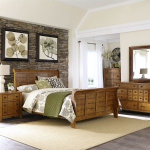 Grandpa's Cabin King Sleigh Bed, Dresser & Mirror, Chest, NS