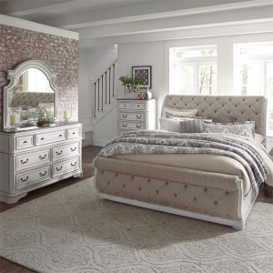 Magnolia Manor California King Upholstered Sleigh Bed, Dresser & Mirror, Chest
