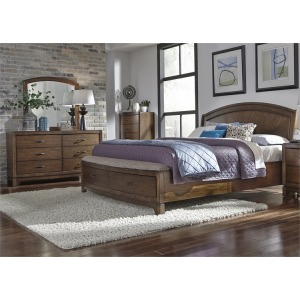 King Panel Storage Bed, Dresser & Mirror, Chest