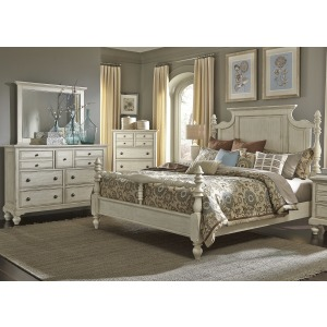 High Country Queen Poster Bed, Dresser & Mirror, Chest