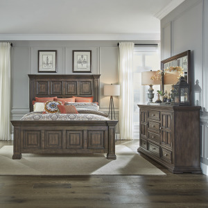 Big Valley King California Panel Bed, Dresser & Mirror