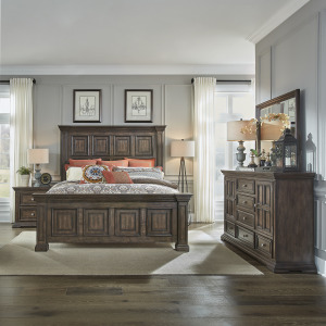 Big Valley King California Panel Bed, Dresser & Mirror, Night Stand