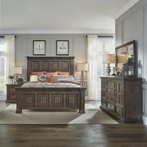 Big Valley King Panel Bed, Dresser & Mirror, Night Stand