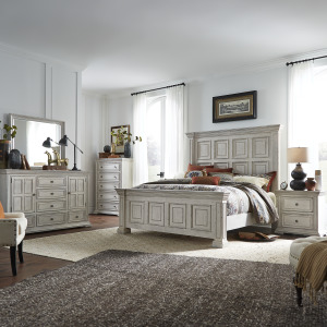 Big Valley King California Panel Bed, Dresser & Mirror, Chest, Night Stand