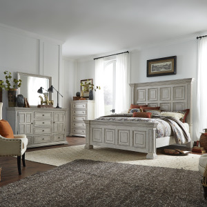 Big Valley King Panel Bed, Dresser & Mirror, Chest
