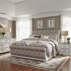 Magnolia Manor Queen Uph Sleigh Bed, Dresser & Mirror, NS