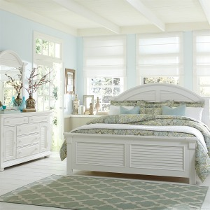 Summer House King Panel Bed, Dresser & Mirror, Chest