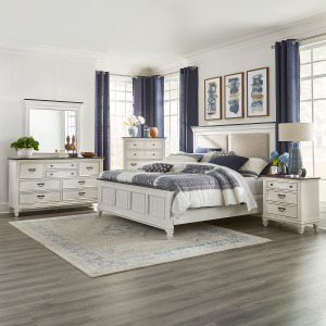 Allyson Park King Uph Bed, Dresser & Mirror, Chest, Night Stand