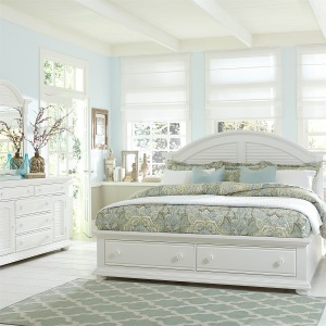Summer House King Storage Bed, Dresser & Mirror, Chest