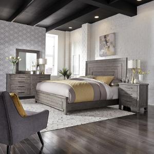 Modern Farmhouse King California Panel Bed, Dresser & Mirror, Night Stand