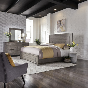 Modern Farmhouse King Panel Bed, Dresser & Mirror