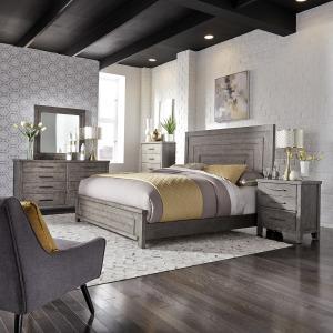 Modern Farmhouse King Panel Bed, Dresser & Mirror, Chest, Night Stand