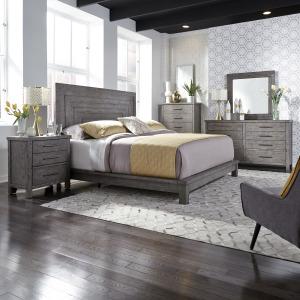 Modern Farmhouse King Platform Bed, Dresser & Mirror, Chest, Night Stand