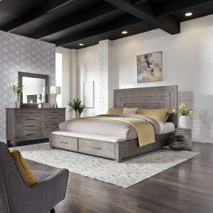 Modern Farmhouse King Storage Bed, Dresser & Mirror