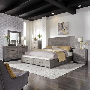 Modern Farmhouse King Storage Bed, Dresser & Mirror, Chest, Night Stand