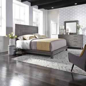 Modern Farmhouse Queen Platform Bed, Dresser & Mirror