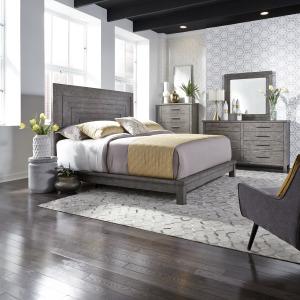 Modern Farmhouse Queen Platform Bed, Dresser & Mirror, Chest