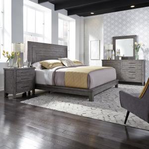 Modern Farmhouse Queen Platform Bed, Dresser & Mirror, Night Stand