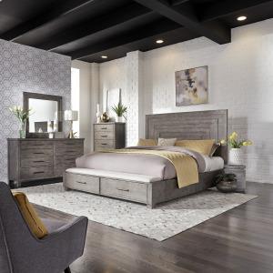 Modern Farmhouse Queen Storage Bed, Dresser & Mirror, Chest