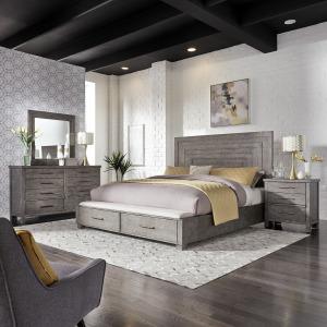 Modern Farmhouse Queen Storage Bed, Dresser & Mirror, Night Stand