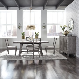 Modern Farmhouse 5 Piece Trestle Table Set