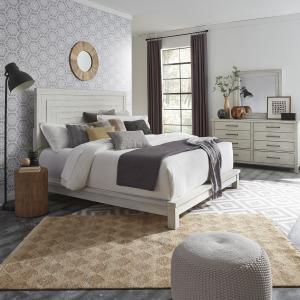 Modern Farmhouse King California Platform Bed, Dresser & Mirror