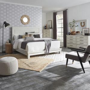Modern Farmhouse King California Platform Bed, Dresser & Mirror, Chest