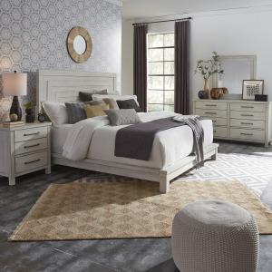 Modern Farmhouse King Platform Bed, Dresser & Mirror, Night Stand