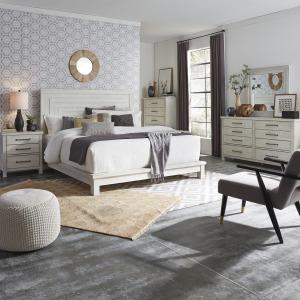 Modern Farmhouse Queen Platform Bed, Dresser & Mirror, Chest, Night Stand