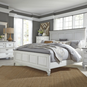 Allyson Park King Panel Bed, Dresser & Mirror, Chest